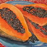 """Papaya on a Blue Plate"" - SOLD"